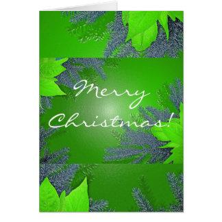 Verde del Poinsettia del navidad en inglés Tarjeta De Felicitación