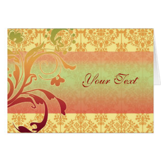 Verde del rojo anaranjado de la tarjeta del saludo