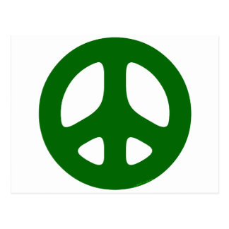 Verde del signo de la paz tarjeta postal