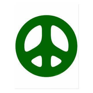 Verde del signo de la paz postal