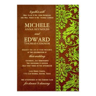 Verde del vintage y boda del cordón del damasco de invitación 12,7 x 17,8 cm