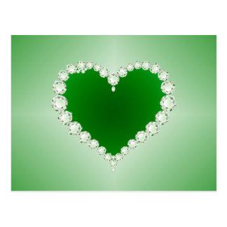 Verde, diamantes, corazón, postal