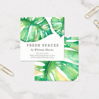 Verde elegante de la salud de la HOJA MODERNA de Tarjeta De Visita Cuadrada