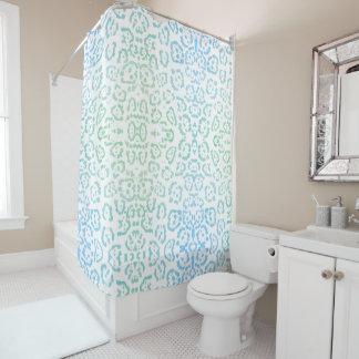Verde en colores pastel del estampado de animales cortina de baño
