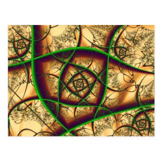 Verde en la bella arte del fractal del oro postal