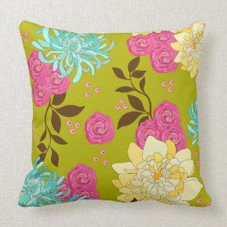 Verde esmeralda del diseño floral del Chinoiserie Cojín Decorativo