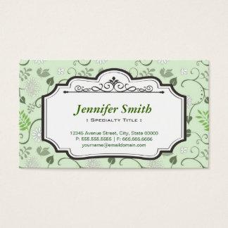 Verde fresco elegante de las hojas - floral tarjeta de negocios