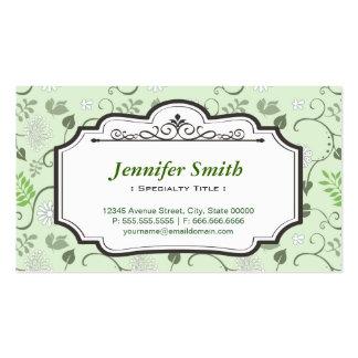 Verde fresco elegante de las hojas - floral tarjetas de visita