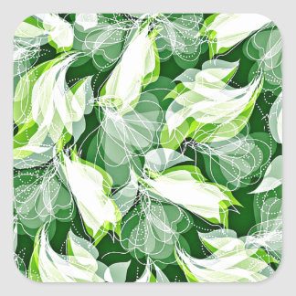 Verde frondoso pegatina cuadrada
