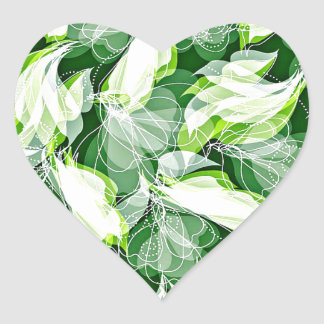Verde frondoso pegatina en forma de corazón