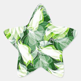 Verde frondoso pegatina en forma de estrella
