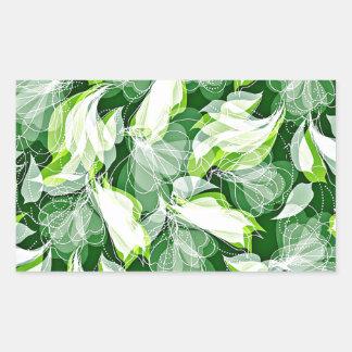 Verde frondoso pegatina rectangular