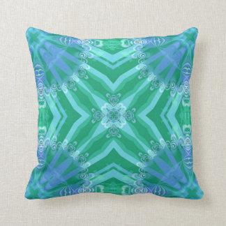 Verde geométrico de encaje + Amortiguador azul de  Almohada