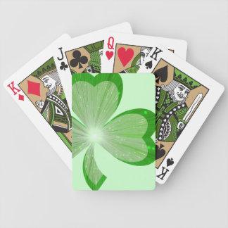 Verde grande de los naipes del trébol baraja cartas de poker