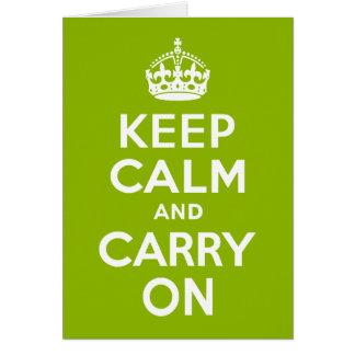 Verde guarde la calma y continúe tarjeta de felicitación