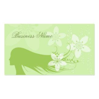 Verde hermoso de la silueta del chica tarjetas de visita