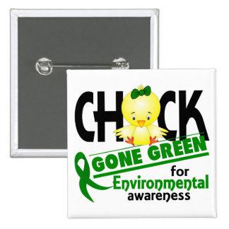 Verde ido polluelo ambiental 2 chapa cuadrada