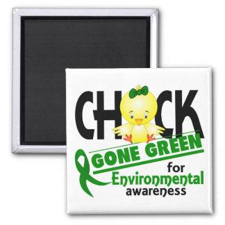 Verde ido polluelo ambiental 2 imán cuadrado