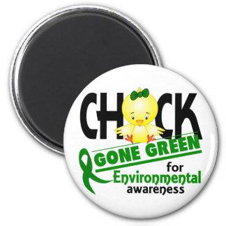 Verde ido polluelo ambiental 2 imán redondo 5 cm