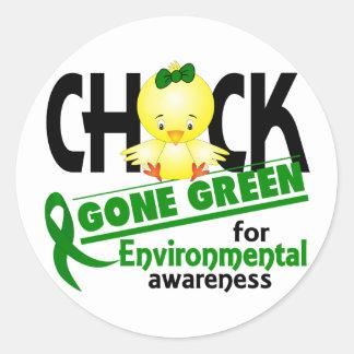 Verde ido polluelo ambiental 2 pegatina redonda