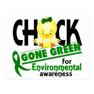 Verde ido polluelo ambiental 2 postal