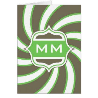 Verde lima espiral retra del monograma marrón tarjeta de felicitación