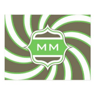 Verde lima espiral retra del monograma marrón postal