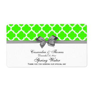 Verde lima, etiqueta gris marroquí blanca del agua etiquetas de envío