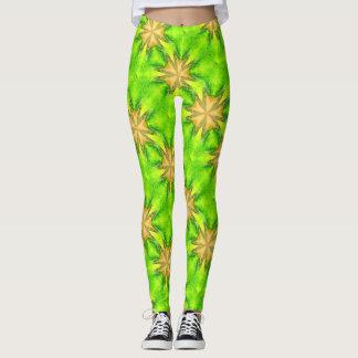 verde maltés de las estrellas del oro leggings