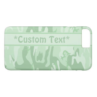 Verde menta Camo con el texto de encargo Funda iPhone 7 Plus