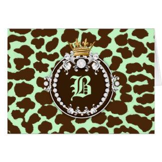Verde menta de Brown del leopardo del medallón de  Tarjeta Pequeña