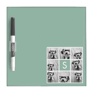 Verde menta de encargo del monograma del collage d pizarras blancas de calidad