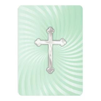 Verde menta de la cruz de la confirmación de la invitación 12,7 x 17,8 cm