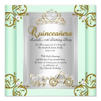 Verde menta del cumpleaños de Quinceanera del Invitación 13,3 Cm X 13,3cm