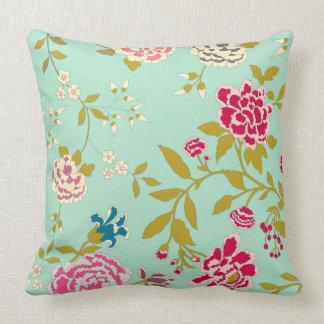 Verde menta del diseño floral del Chinoiserie Cojín Decorativo