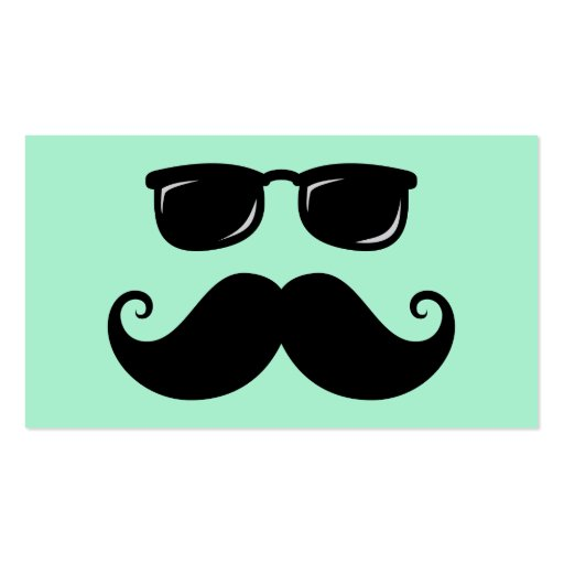 Verde menta divertida del bigote y de la cara de l tarjetas de visita