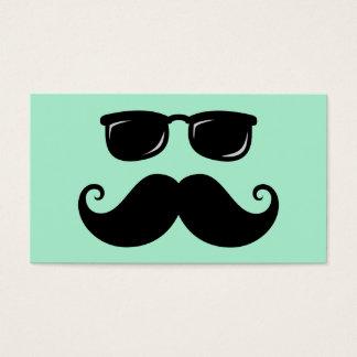 Verde menta divertida del bigote y de la cara de tarjeta de negocios