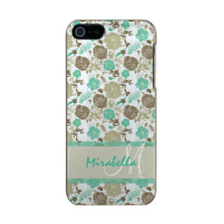 Verde menta en colores pastel enorme, rosas beige carcasa de iphone 5 incipio feather shine