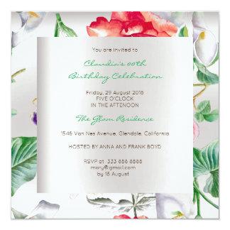 Verde menta tropical de plata floral del invitación 13,3 cm x 13,3cm