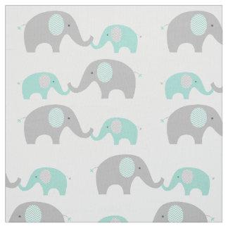 Verde menta y gris lindos de la tela del elefante