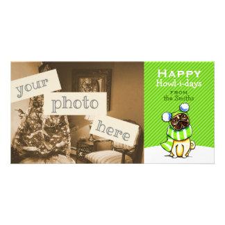 Verde moderno del navidad rayado de la bufanda del tarjeta personal con foto