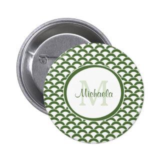 Verde moderno y el blanco hornea el monograma y el chapa redonda 5 cm