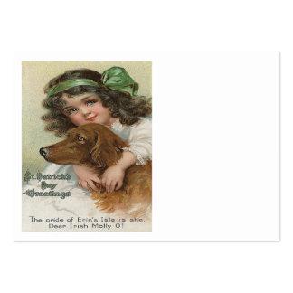 Verde Molly del perro del chica del Victorian Tarjetas De Visita Grandes