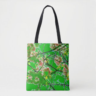 Verde oriental abstracto de la impresión del flor bolsa de tela