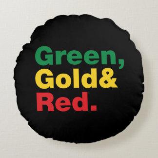 Verde, oro y rojo cojín redondo