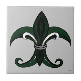 Verde/plata de la flor de lis azulejo cuadrado pequeño