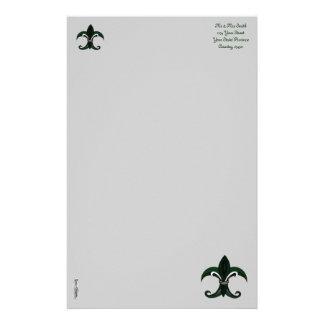 Verde/plata de la flor de lis  papeleria