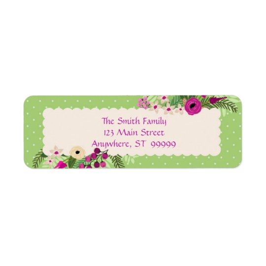 Verde/púrpura/rosa floral etiqueta de remite