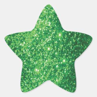 Verde reluciente pegatina en forma de estrella