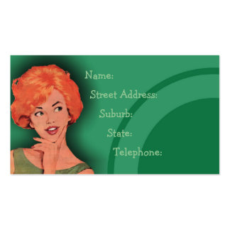 Verde retro Cutesy 2 de la tarjeta de la peluquerí Tarjetas De Visita